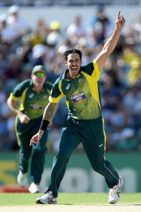 Mitchell Johnson celebrates a wicket.