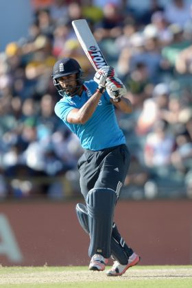Ravi Bopara plays a shot.