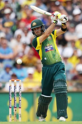 Glenn Maxwell plays a shot.