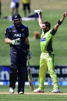 Shahid Afridi celebrates a wicket.