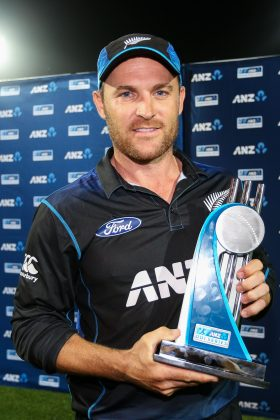 New Zealand captain Brendon McCullum with the ANZ ODI trophy.