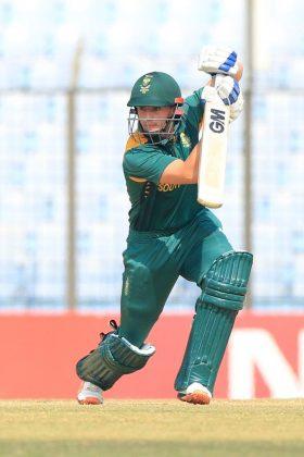 South Africa U-19 batsman plays a shot.
