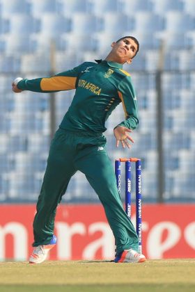 South Africa bowler in action.