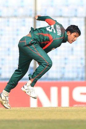Bangladesh bowler in action.