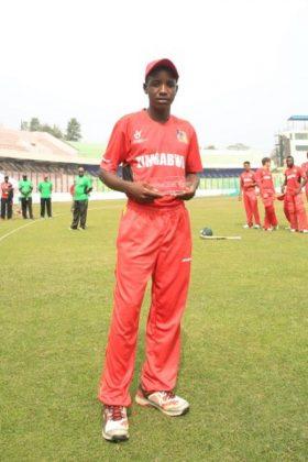 Zimbabwe U19's Wessly Madhevere with the Man of the Match award.