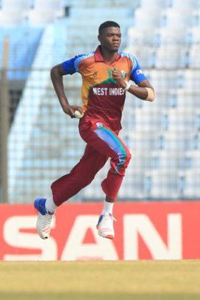 West Indies U19 cricket team player Alzarri Joseph in action.