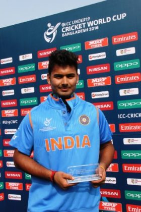 Rishabh Pant of India U-19 with his Man of the Match trophy.