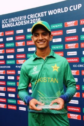 Hasan Mohsin of Pakistan U-19 with his Man of the Match award.