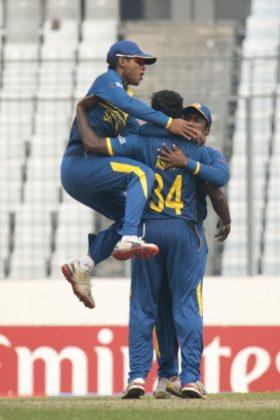 Sri Lanka U-19 celebrates the wicket of Sarfaraz Khan.