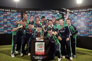 Ireland team celebrate on the stage after its victory over Afghanistan. - ICC T20 News