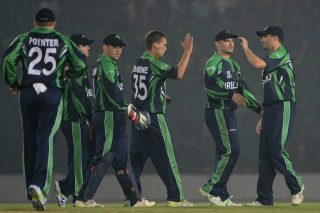 Ireland cricketers celebrate after the dismissal of Sharad Vesawkar of Nepal. - ICC T20 News