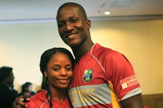West Indies captains Merissa Aguilleira and Darren Sammy during the West Indies Open Media Day at the ICC World T20 today. - ICC T20 News