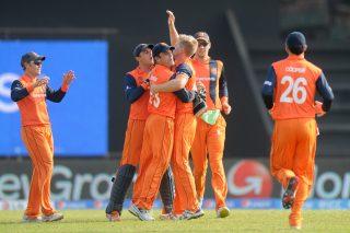 Timm van der Gugten of Netherlands celebrates the wicket. - ICC T20 News