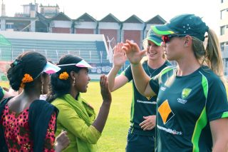 In Sylhet, the Australia Women's team had a special interactive session with a group of girls supported by WASH United. - ICC T20 News