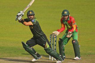 Ahmed Shehzad as Mushfiqur Rahim looks on. - ICC T20 News