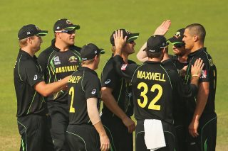 Nathan Coulter-Nile of Australia is congratulated by his teammates after dismissing Anamul Haque of Bangladesh. - ICC T20 News