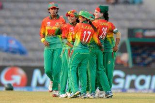 Jahanara Alam of Bangladesh celebrates the wicket of Hasini Perera of Sri Lanka. - ICC T20 News