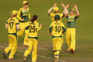 Sarah Coyte of Australia is congratulated by her teammates after running out Stafanie Taylor. - ICC T20 News