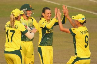 Erin Osborne of Australia is congratulated by her teammates after dismissing Kycia Knight of the West Indies. - ICC T20 News
