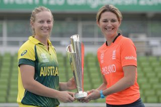 Australia captain Meg Lanning and England captain Charlotte Edwards pose with ICC Womens World T20 trophy ahead of the final. - ICC T20 News