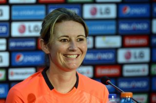 England women cricket captain Charlotte Edwards addresses a press congference prior to posing with the trophy. - ICC T20 News