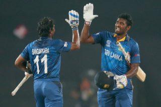 Kumar Sangakkara and Thisara Perera of Sri Lanka celebrate as Sri lanka win the final of the ICC World Twenty20 Bangladesh 2014. - ICC T20 News