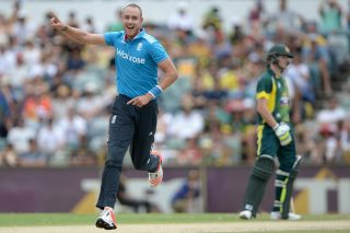 Stuart Broad celebrates a wicket.
