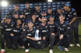 New Zealand celebrates winning the ANZ ODI trophy.