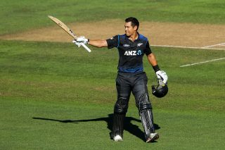 Ross Taylor celebrates his century.
