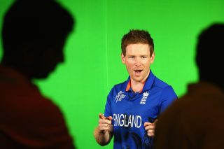 Eoin Morgan takes part in a promotion recording during an England media session.