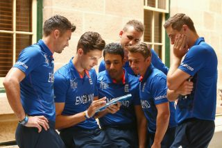James Anderson, Steven Finn, Ravi Bopara, Alex Hales, James Taylor and Chris Woakes during an England media session.