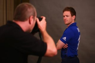 Eoin Morgan poses for a portrait during an England media session.