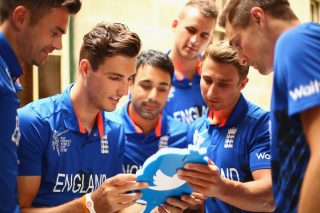 James Anderson, Steven Finn, Ravi Bopara, Alex Hales, James Taylor and Chris Woakes use a twitter mirror during an England media session.
