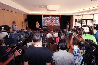 Michael Clarke speaks to the media during a press conference at the Adelaide Intercontinental.