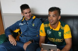 Rilee Rossouw (R) and JP Duminy with the twitter mirror during South Africa's media session.