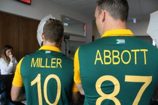 David Miller and Kyle Abbott during South Africa's media session.
