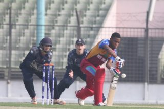 West Indies batsmen in action.