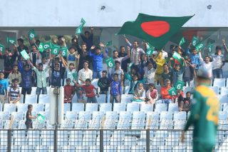 Spectators watch the match between Bangladesh and South Africa.