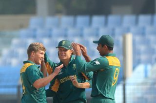 South Africa players celebrate a wicket.
