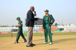 South Africa captain during toss.