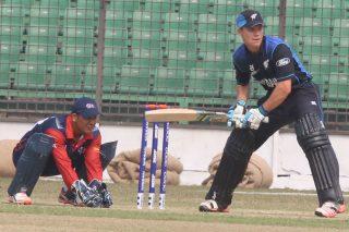 New Zealand cricketer bats against Nepal.