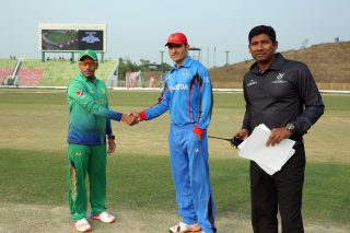 Pakistan and Afghanistan captains at the toss.