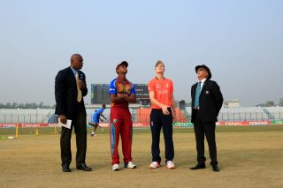 The England U19 and West Indies U19 captains at the toss.