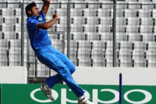 Avesh Khan of India U-19 in action.