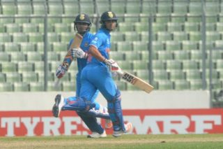 Rishabh Pant and Ishan Kishan of India U-19 in action.