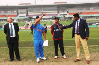 India U-19 and Nepal U-19 captains during the toss.