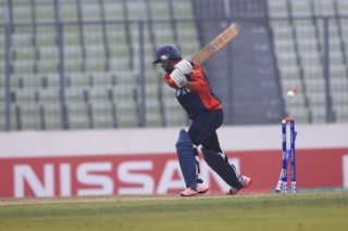 Yogendra Karki of Nepal U-19 bowled by Avesh Khan.