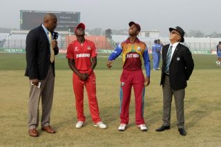 The captains of Zimbabwe U-19 and West Indies U-19 during the toss.