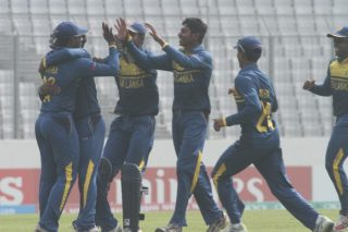 Sri Lanka U-19 celebrates the fall of Pakistan U-19 wicket.