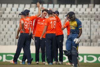 England players celebrate the wicket of Kaveen Bandara.